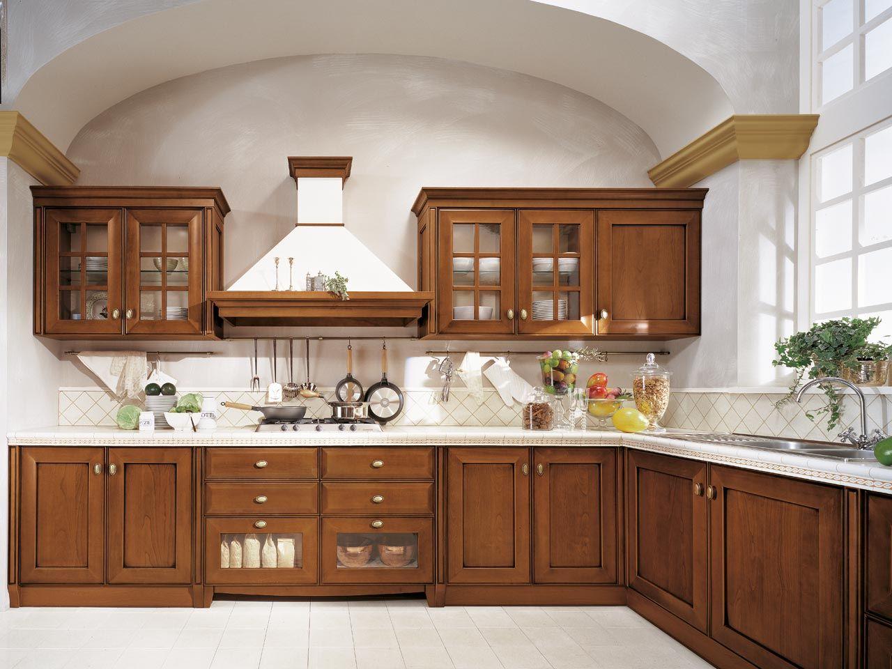 velia ciliegio cuisine en bois massif by cucine lube. Black Bedroom Furniture Sets. Home Design Ideas
