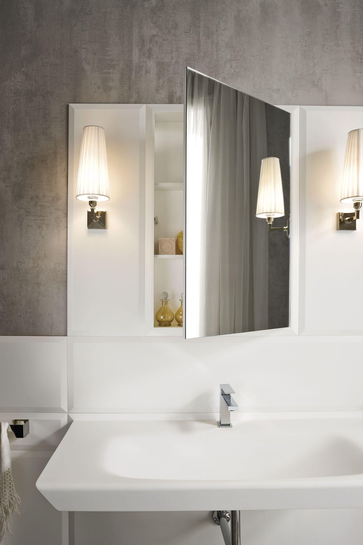 Meuble pour salle de bain en corian avec miroir for Meuble salle de bain corian