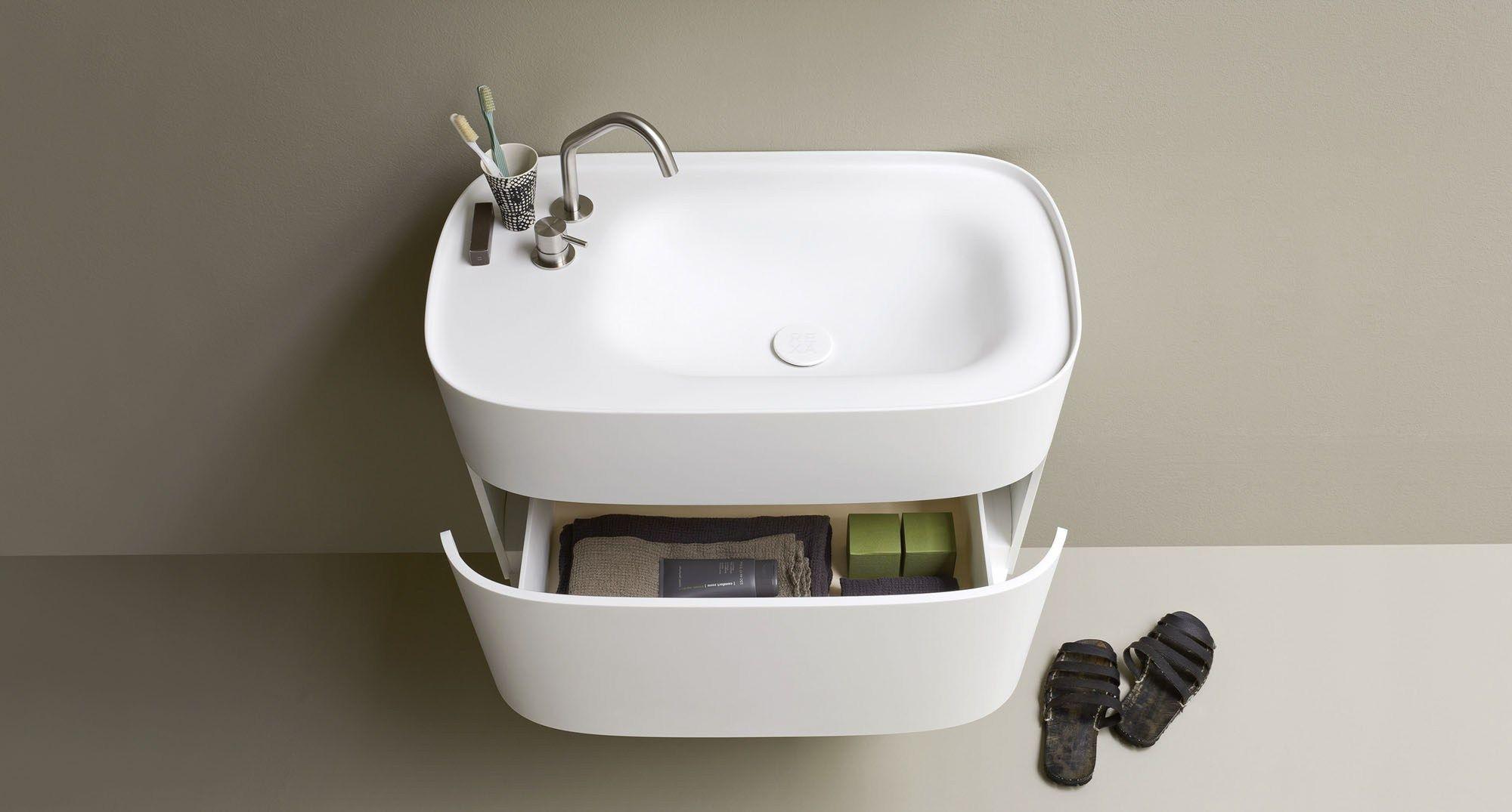 Mobile lavabo in corian con cassetti collezione fonte by - Lavabos de resina ...