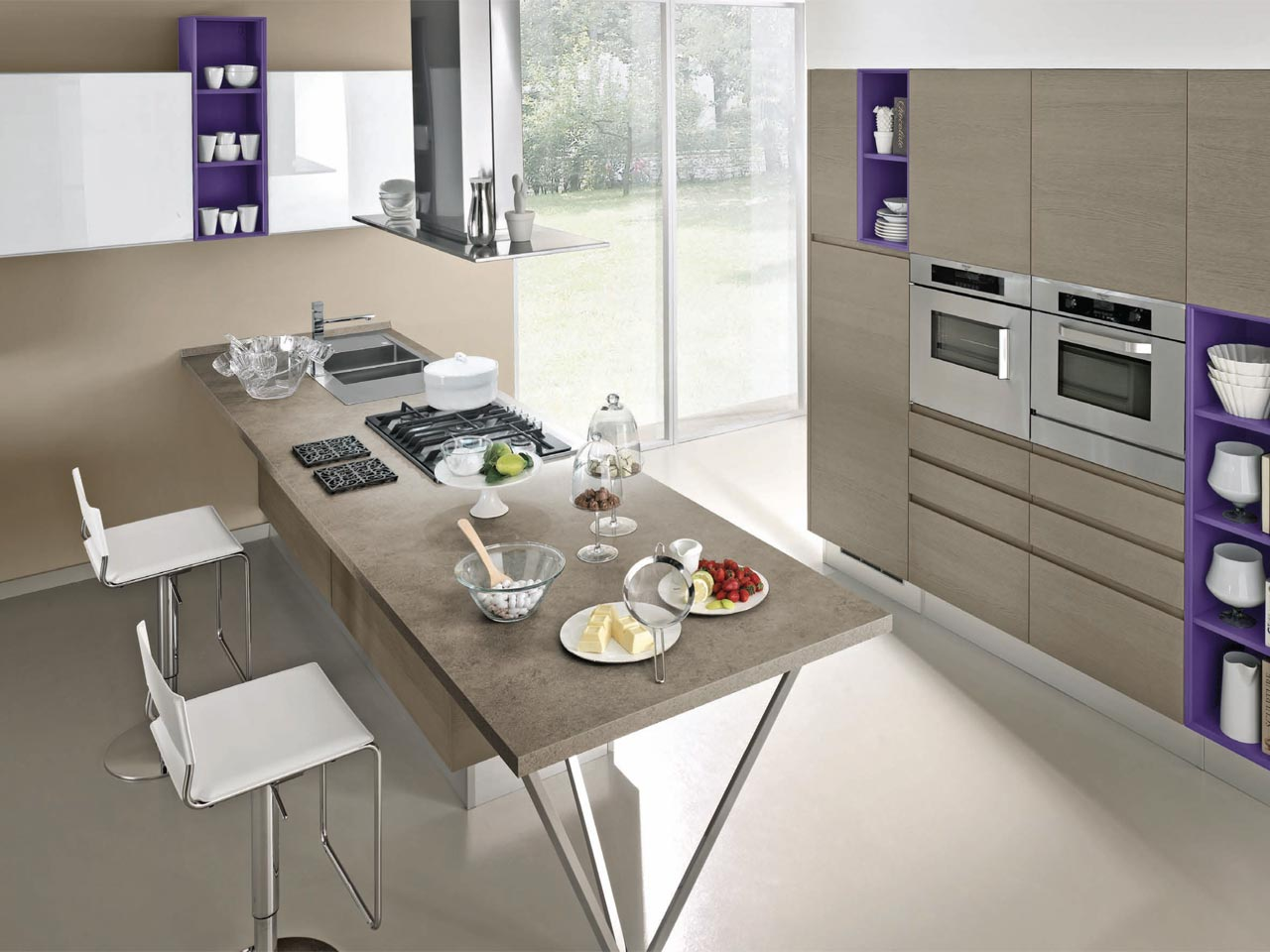 Wooden fitted kitchen without handles linda collection by for Wooden fitted kitchen