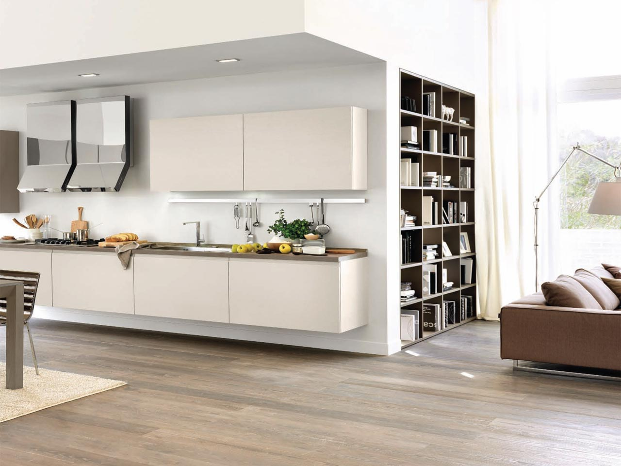 Linda cuisine suspendue by cucine lube for Cuisine integree bois