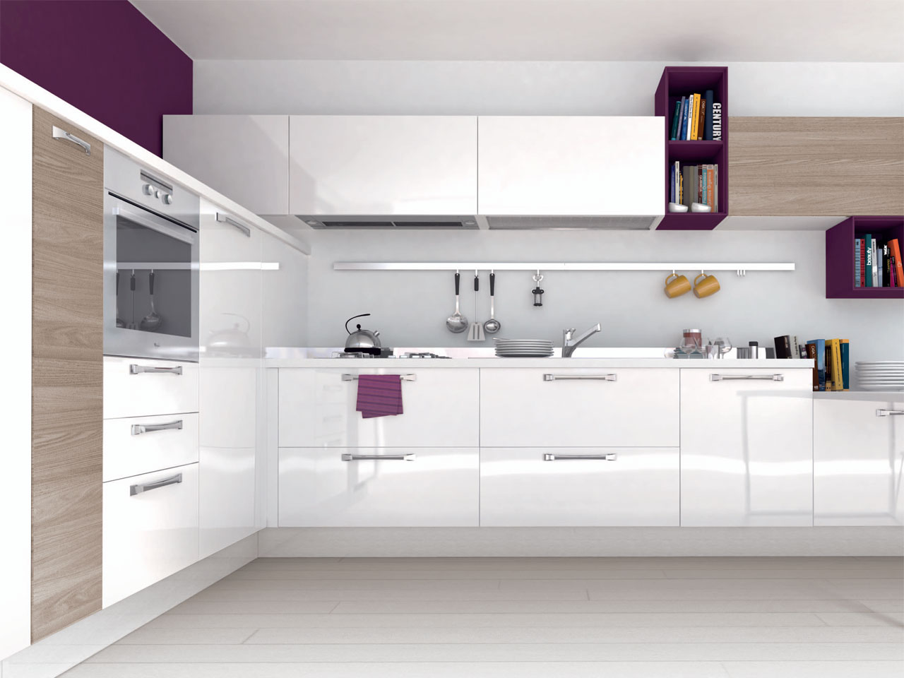 Lacquered wooden fitted kitchen with handles noemi for Wooden fitted kitchen