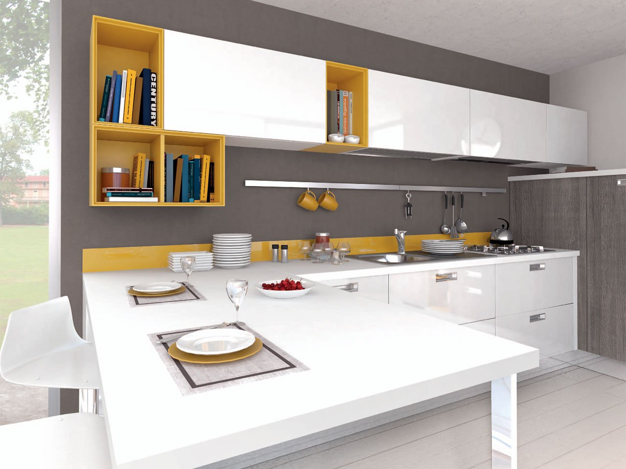 Noemi fitted kitchen by cucine lube for Wooden fitted kitchen