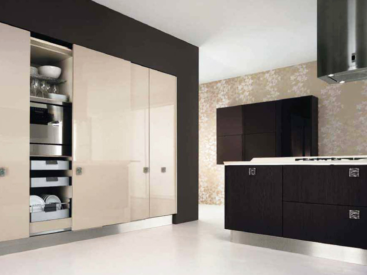 Wooden fitted kitchen with handles nilde collection by for Wooden fitted kitchen