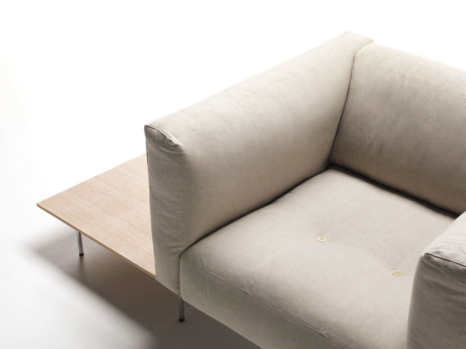 Upholstered fabric armchair with removable cover with ...