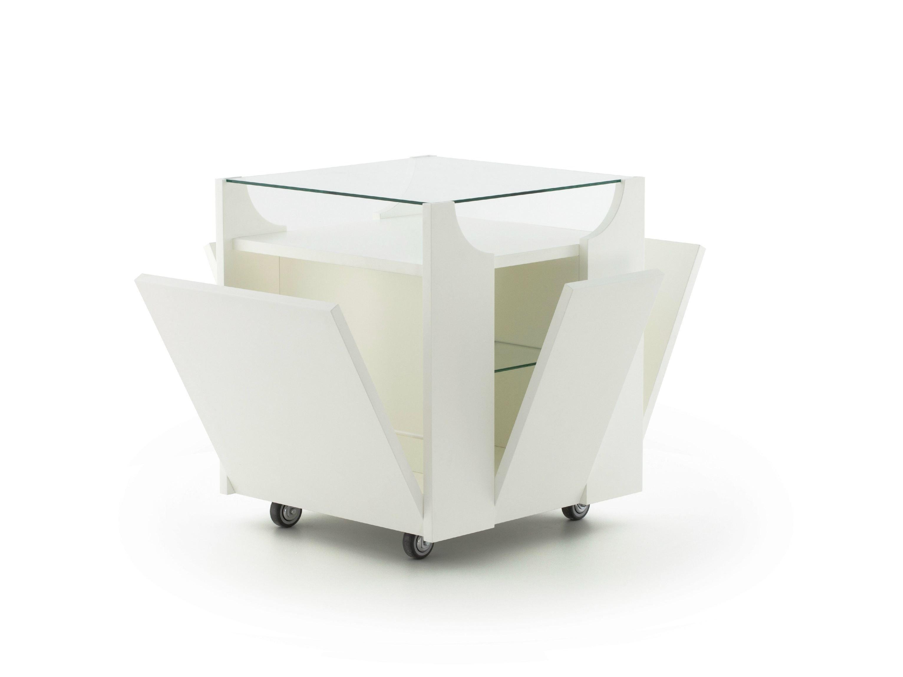 servierwagen aus holz mit schubladen cubovo by porro design bruno munari. Black Bedroom Furniture Sets. Home Design Ideas