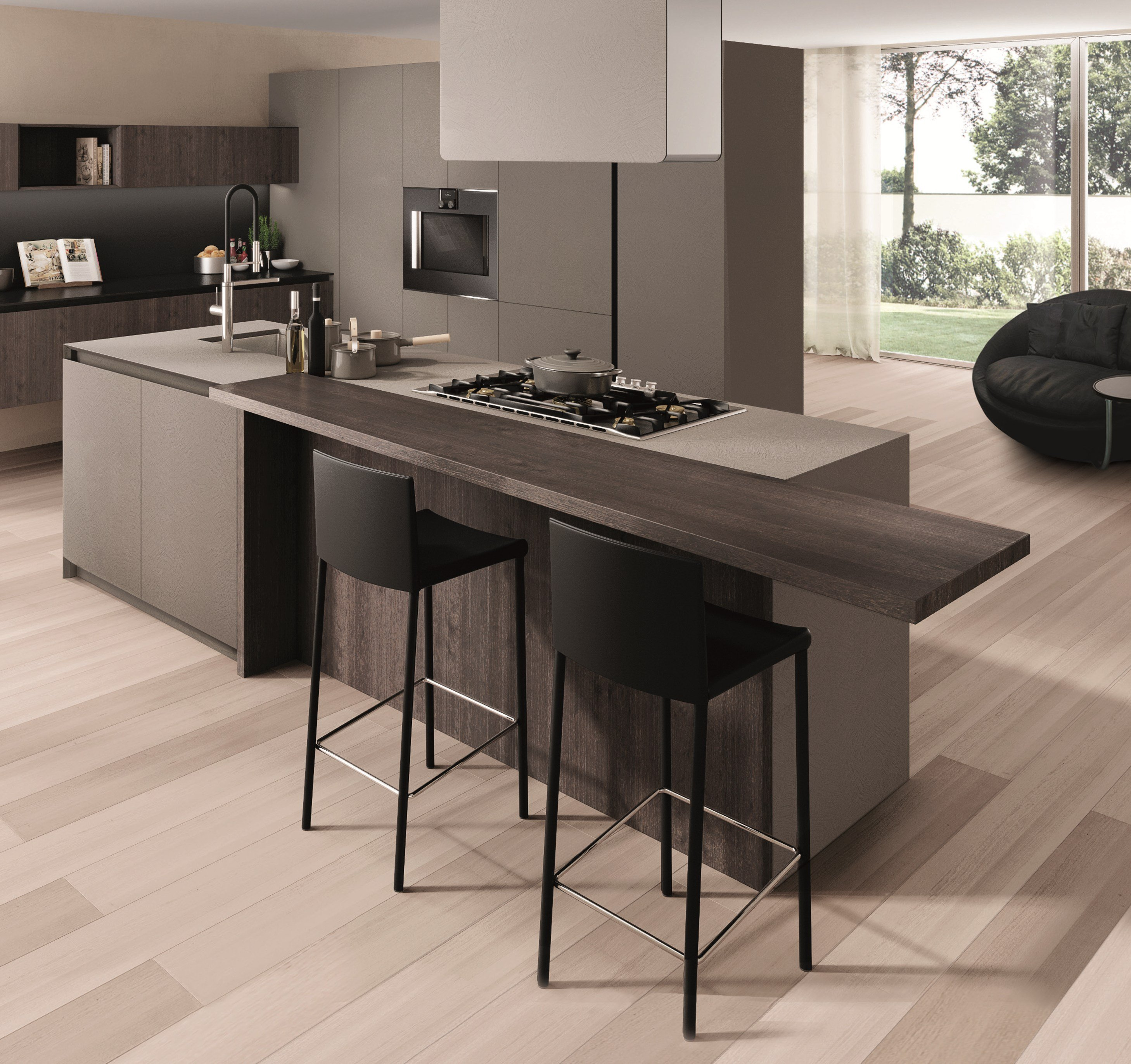 Wooden fitted kitchen filoantis by euromobil design for Wooden fitted kitchen