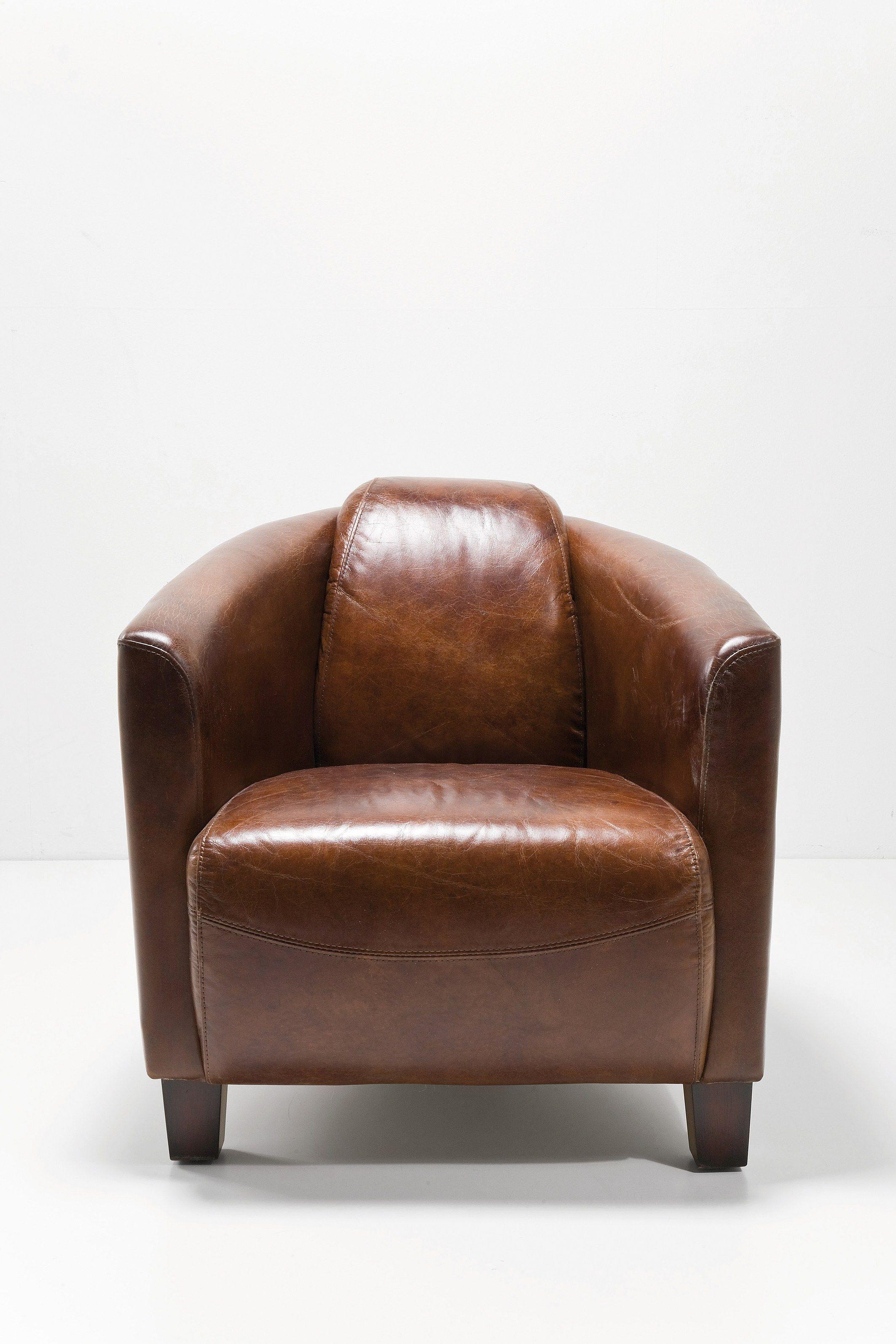 Poltrona in pelle design con braccioli cigar lounge for Poltrona kare design