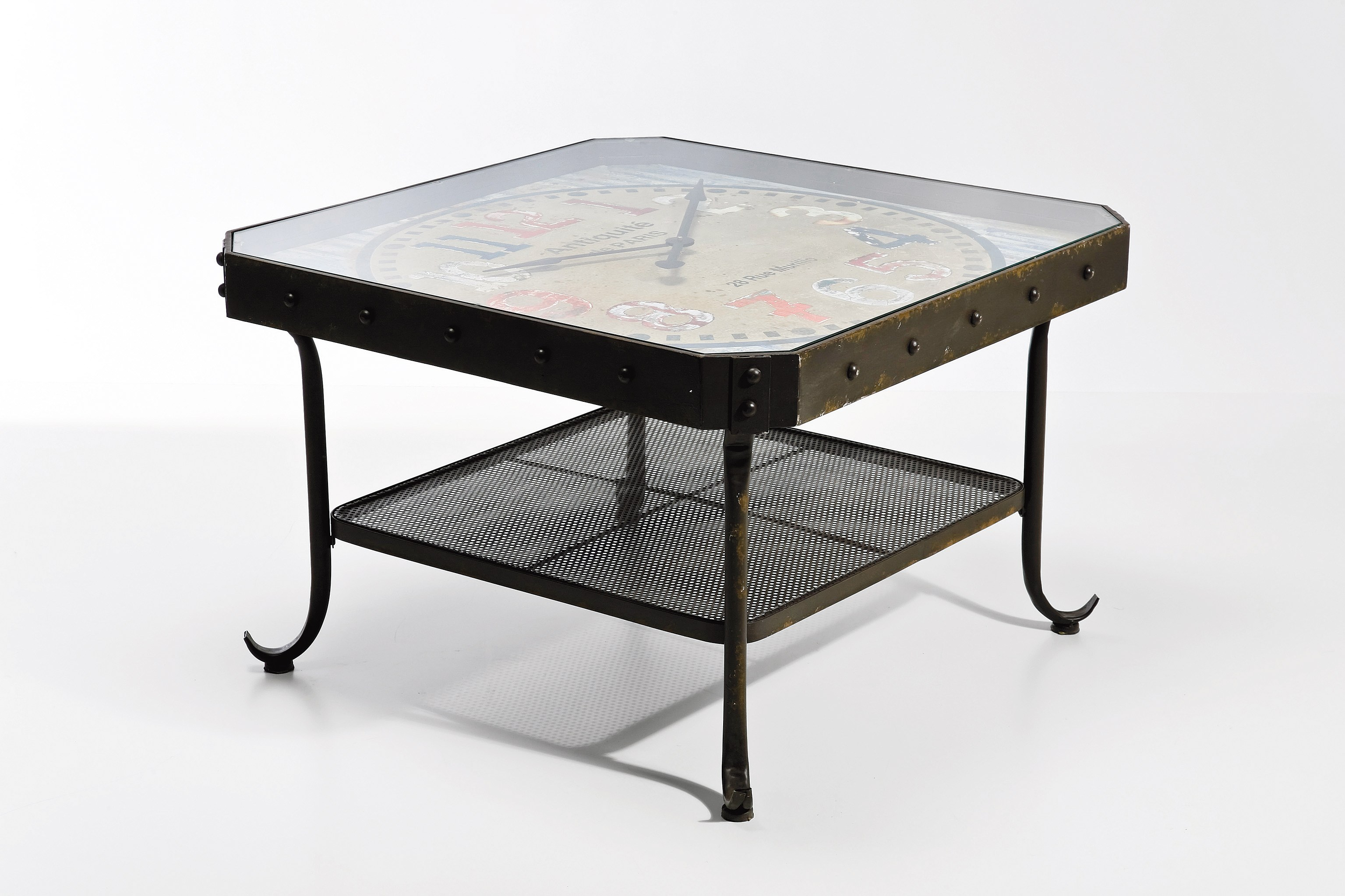 Square steel coffee table antique clock low coffee table by kare design Low coffee table square