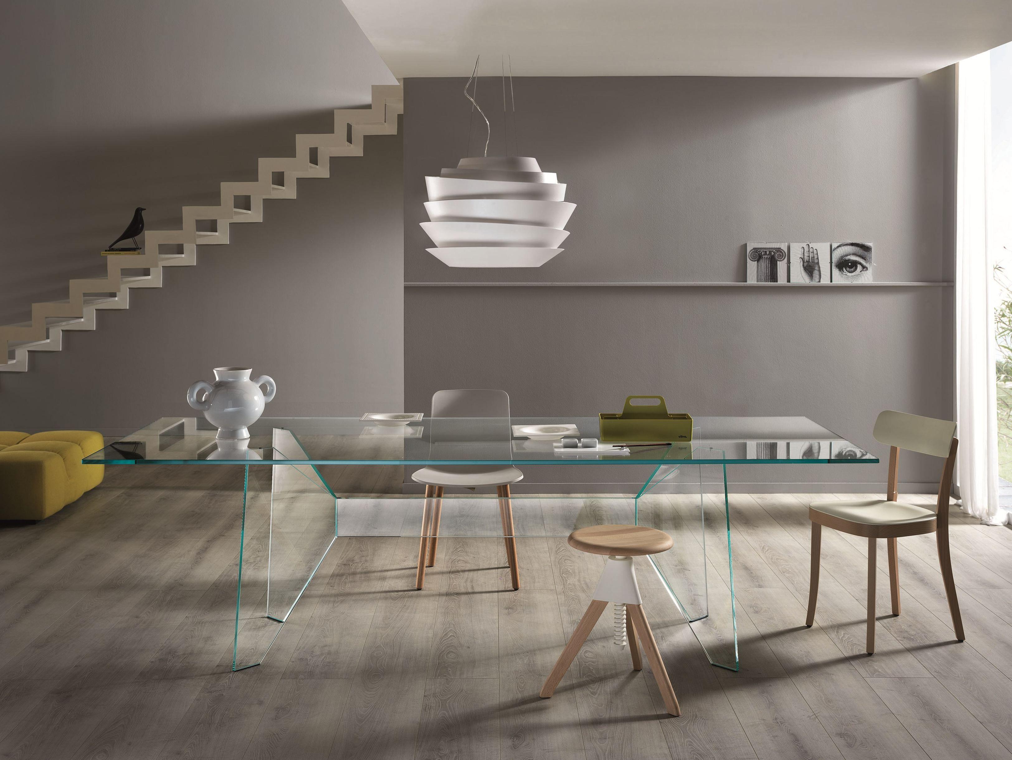 Da Pranzo Rettangolare In Cristallo Design CLARO T.D. Tonelli Design #3C6868 3249 2438 Tavoli Da Pranzo Di Design