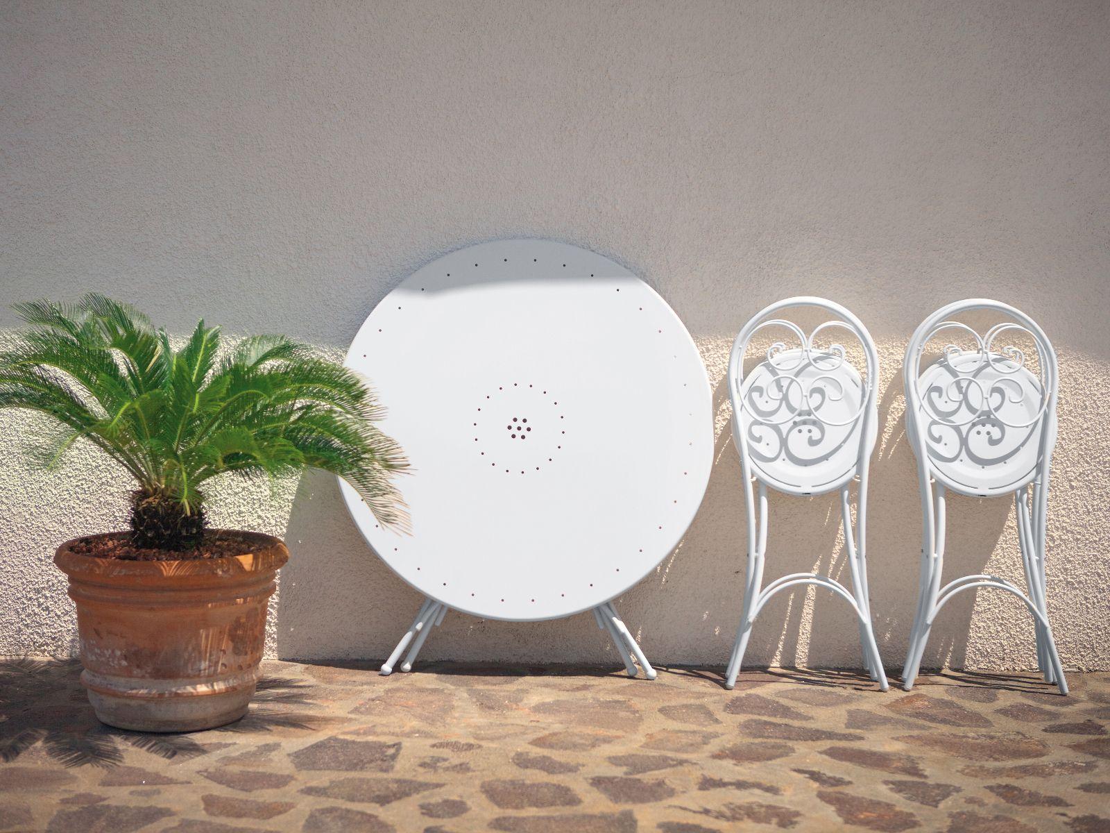 Table De Jardin Pliante Ronde En Acier Collection Pigalle