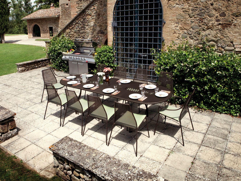 Table De Jardin Ronde Carrelee : de jardin extensible ovale en acier VERA  Table de jardin ovale  EMU