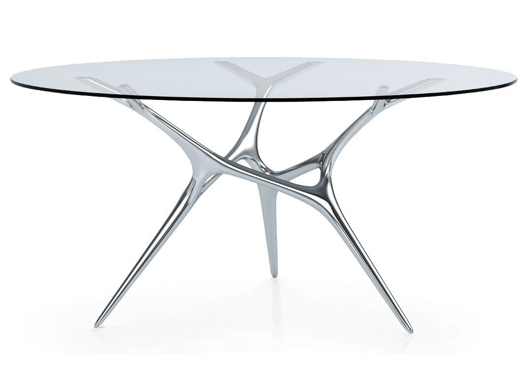 Table Ronde En Acier Inoxydable Et Verre E Volved By Fueradentro Design Timothy Schreiber