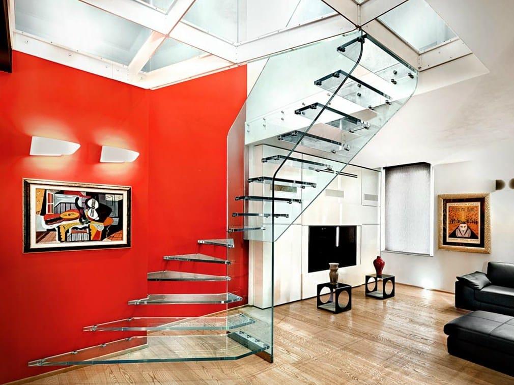 Escalera volada de vidrio STRUKTURA by OFFICINE SANDRINI