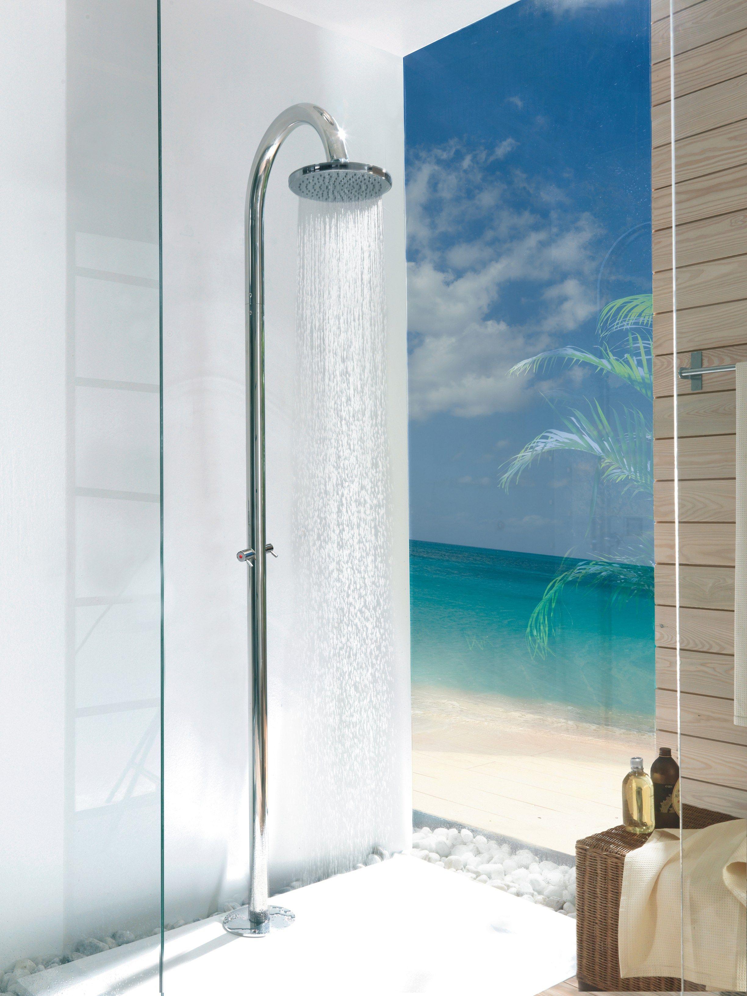 floor standing shower panel with overhead shower oki floor