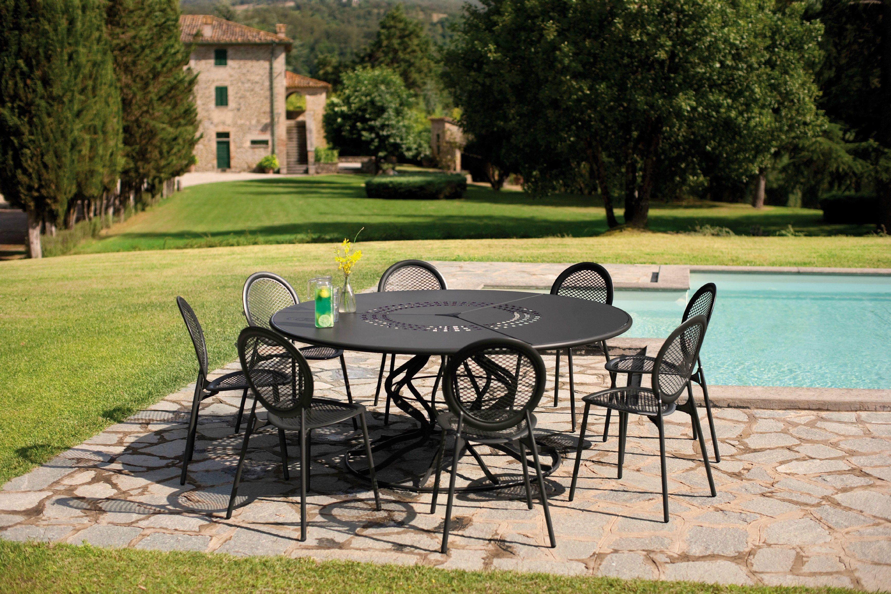 Table De Jardin Ronde En Acier Minuetto By Emu Group