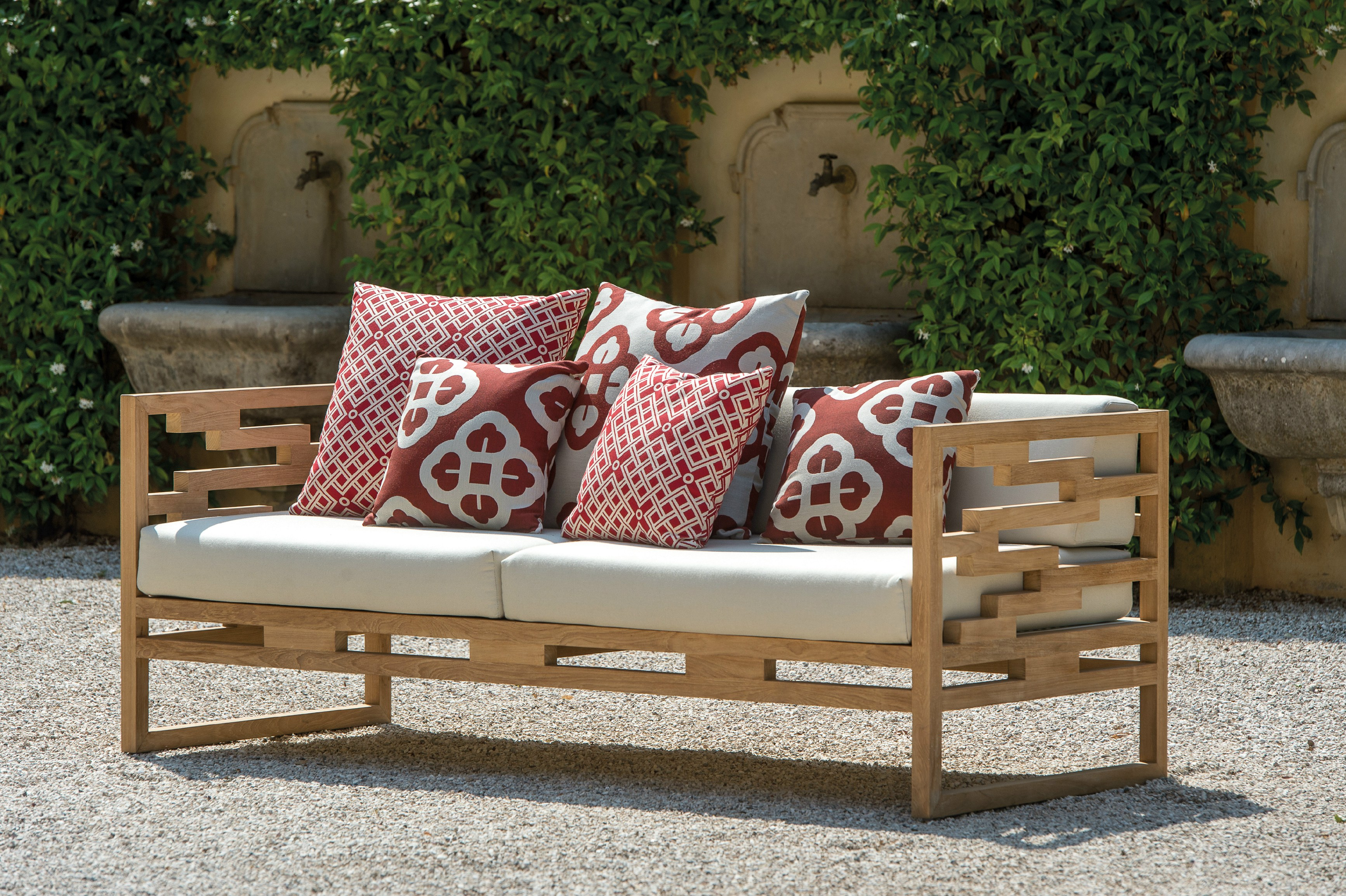 UPHOLSTERED TEAK GARDEN SOFA KONTIKI COLLECTION BY EMU ...