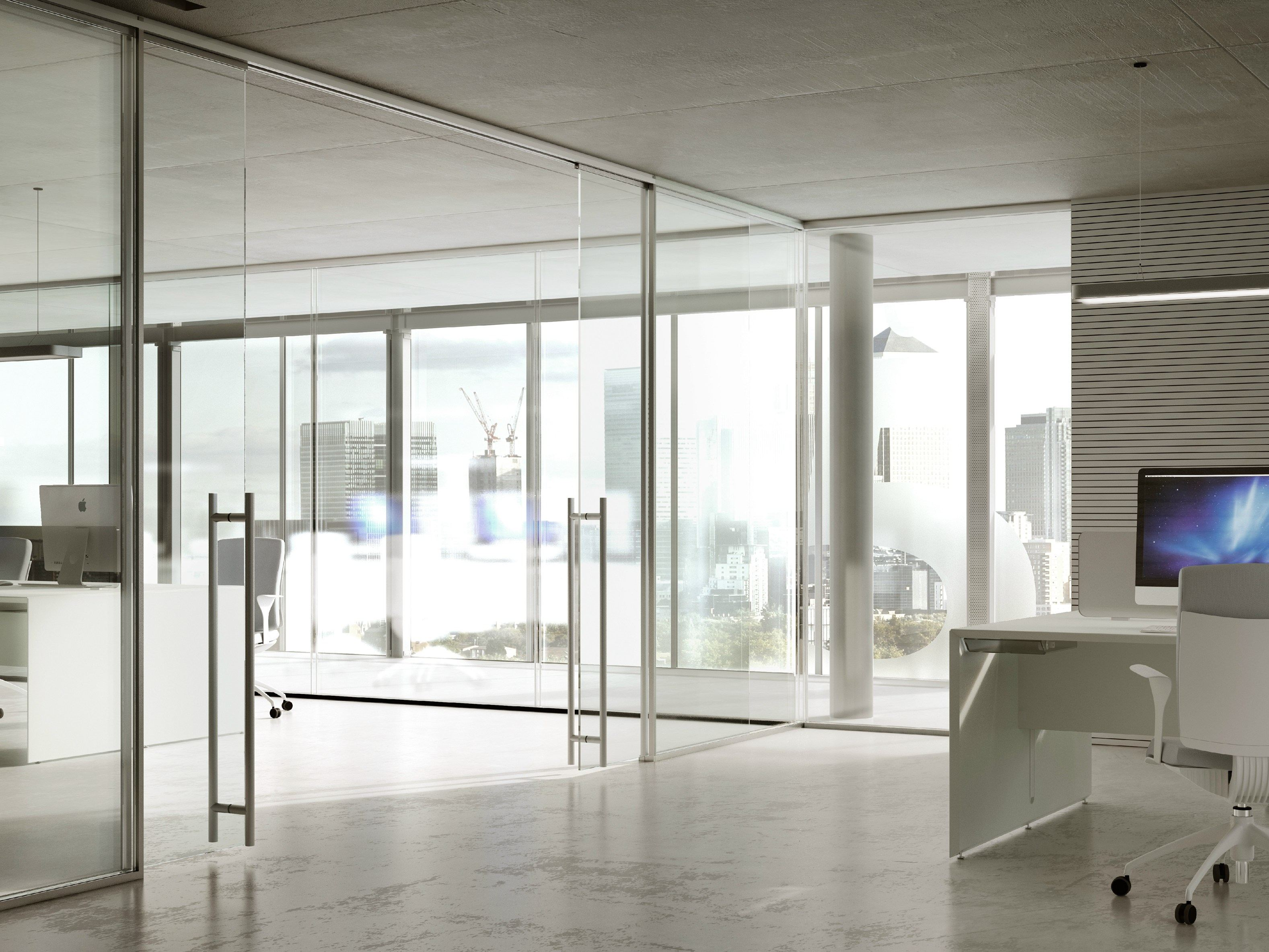 Glass partition wall i wallspace by fantoni for Glass walls and doors