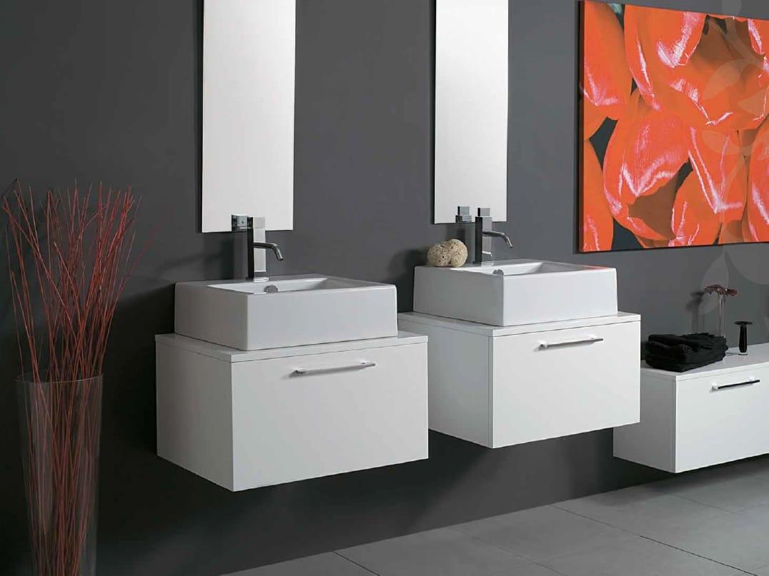 Mueble bajo lavabo suspendido de madera con cajones zen - Mueble lavabo suspendido ...