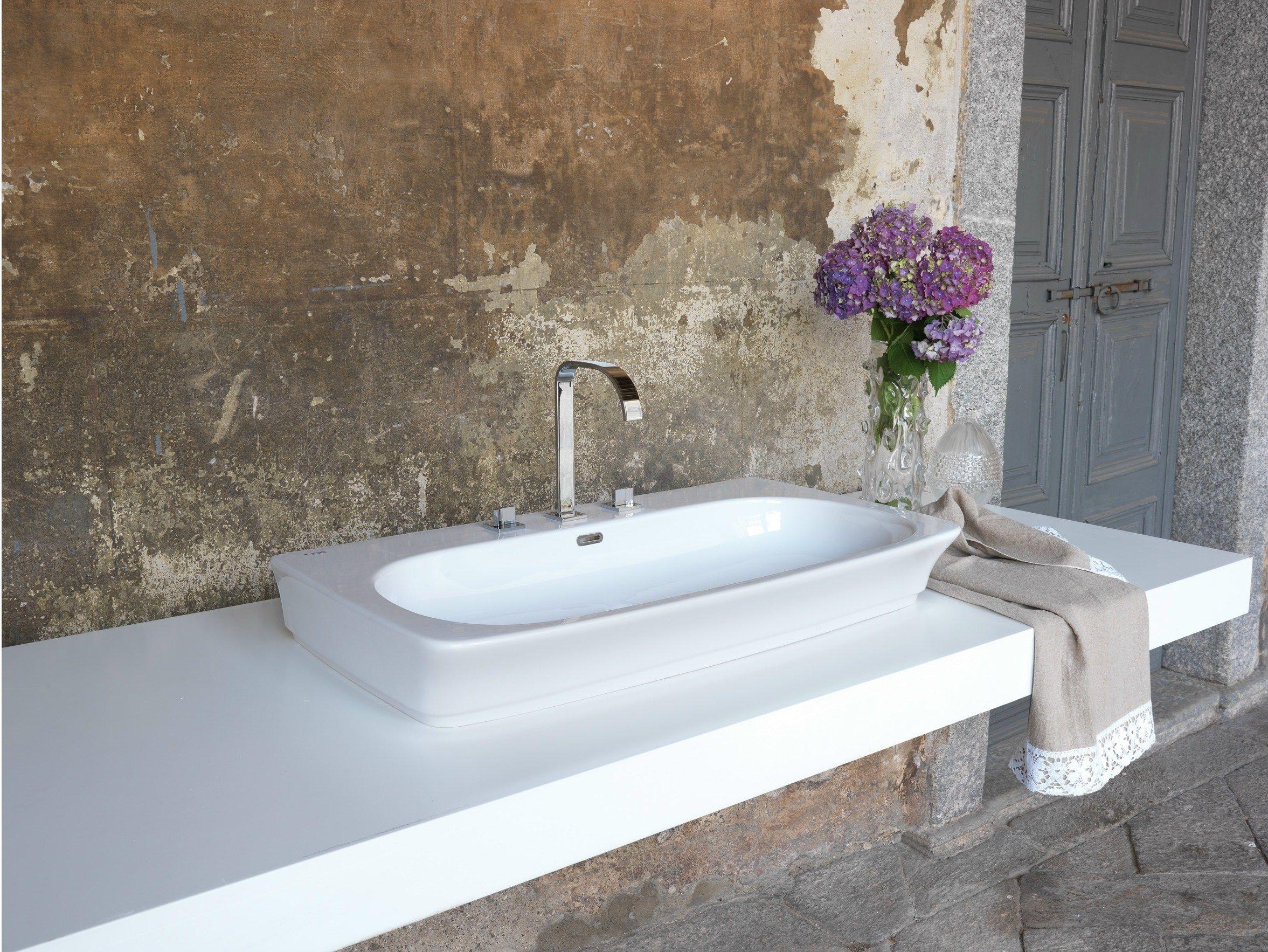 Grifo para lavabo cromado de sobre encimera con 3 - Grifos para lavabos sobre encimera ...