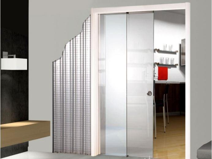 Controtelaio per porta scorrevole ad ante parallele in vetro remix by scrigno - Porta scrigno vetro ...