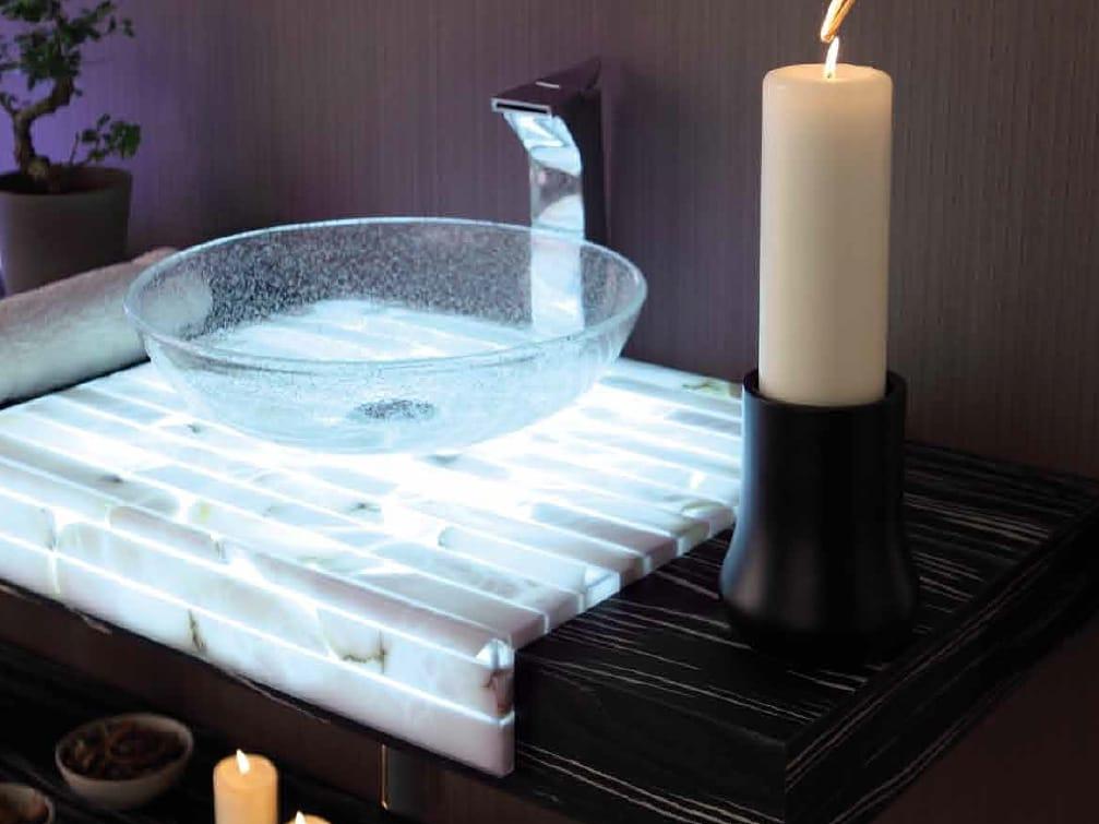 Piano lavabo in alabastro, legno e vetro ST60LW by LA BOTTEGA DI MASTRO FIORE