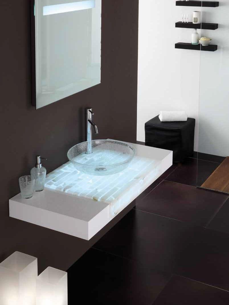 Piano lavabo in alabastro, legno e vetro ST60LW by LA ...