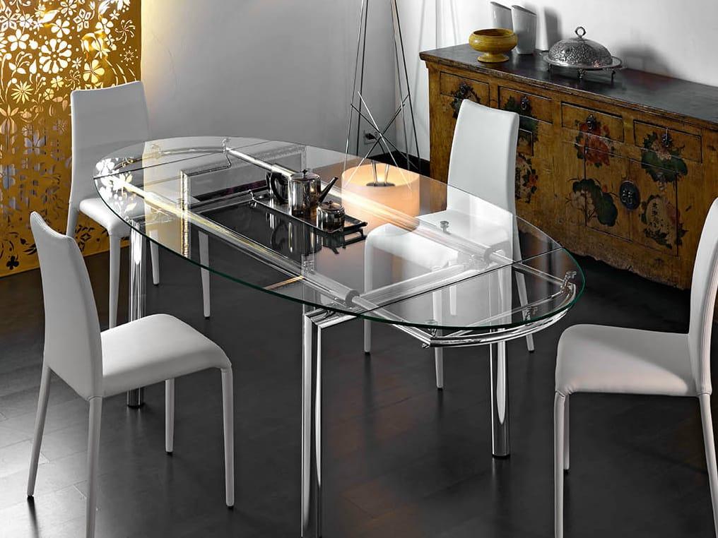 Tavolo allungabile ovale in vetro mambo e by midj design r d - Tavolo ovale vetro ...