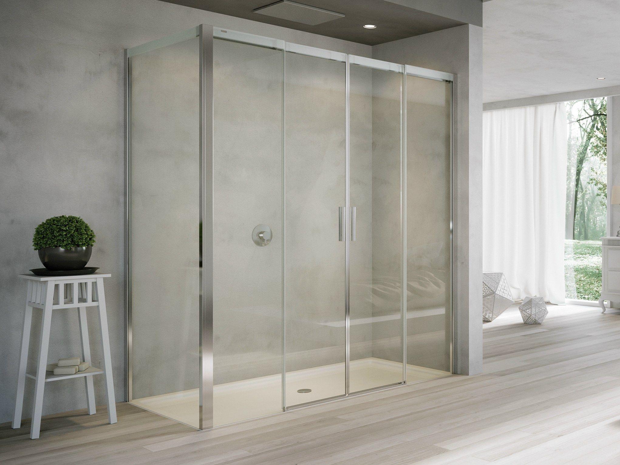 Box doccia in cristallo con porte scorrevoli acqua r 5000 for Camminare attraverso la doccia alla vasca