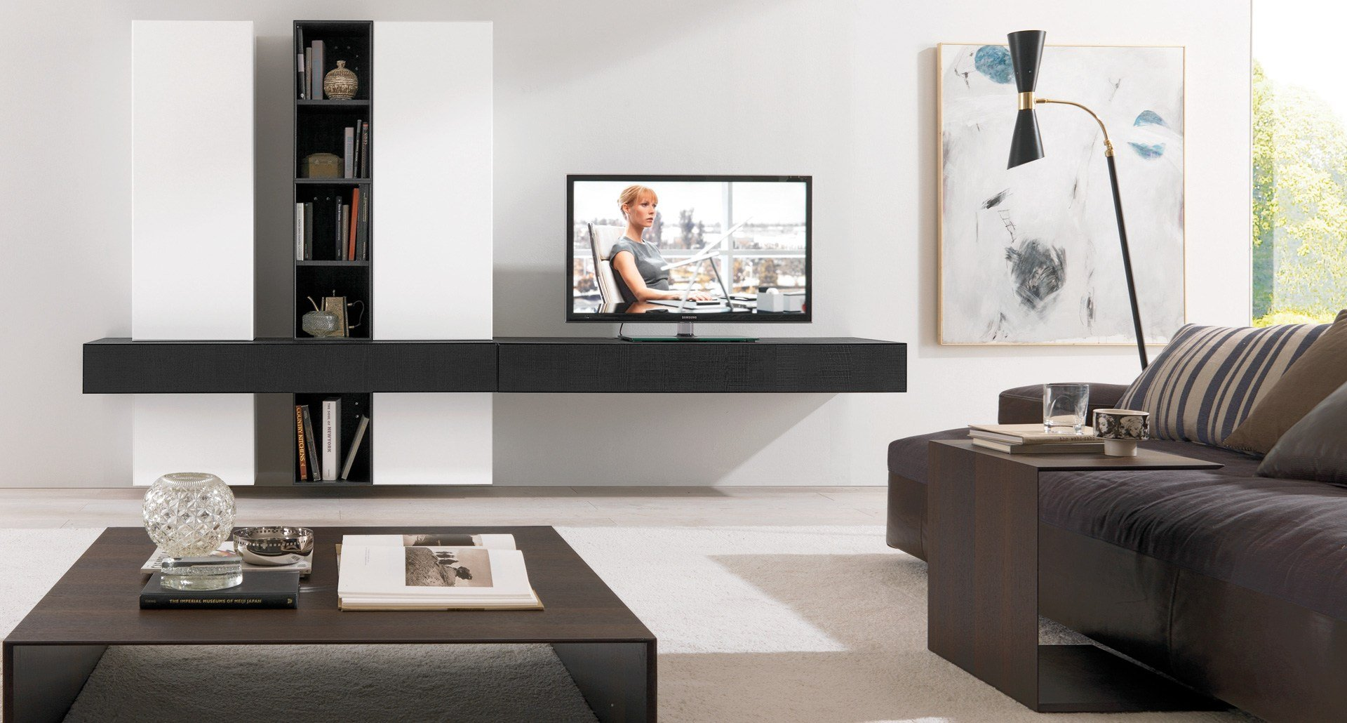 Meuble Support Mural Tv Maison Design Wiblia Com # Amenagement Long Mur Salon Tv