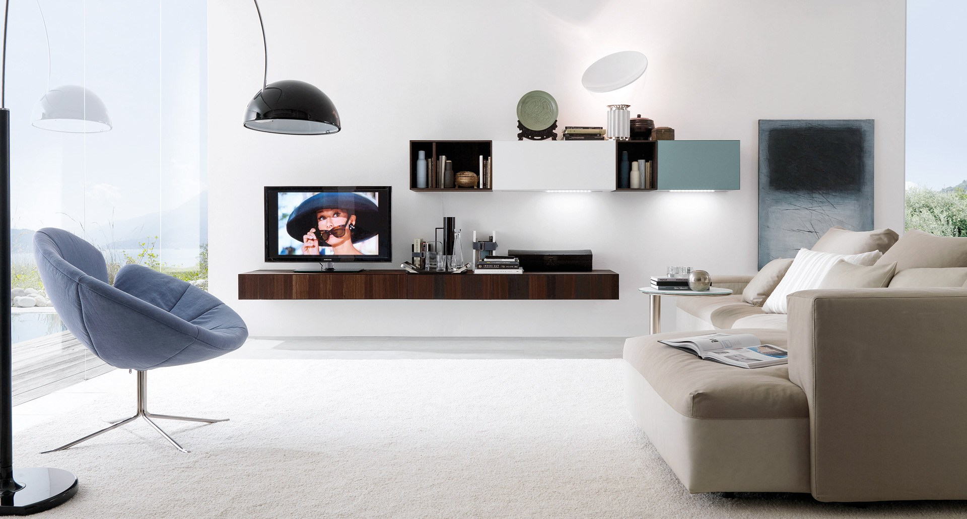 Anbau  wandmontierte tv  wohnwand cubodieci   e45 by euromobil