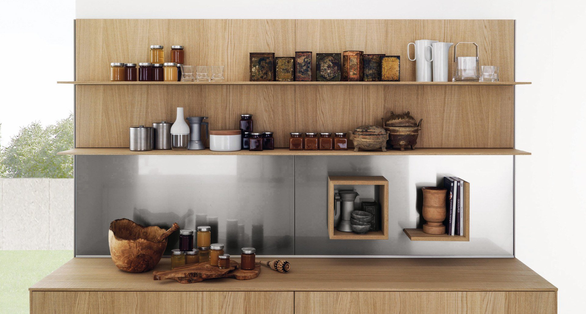 Parete Attrezzata Con Mensole Per Cucine E Living HORIZON By Euromobil #936838 1920 1030 Arredare Mensole Cucina Moderna
