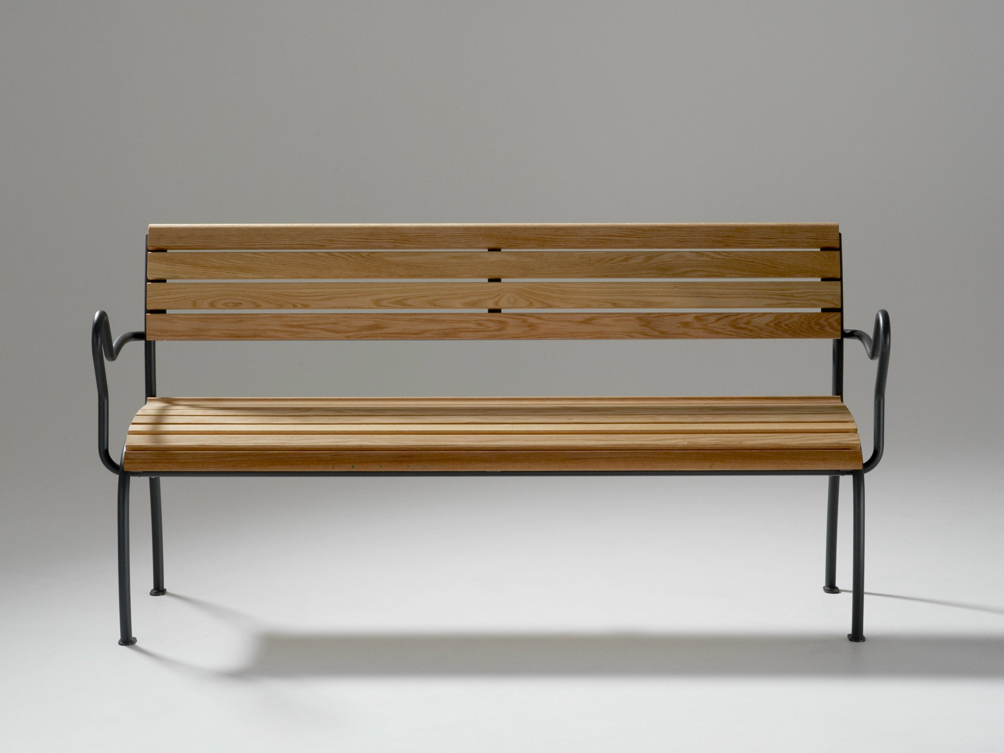 Wooden Bench With Armrests ACCESS By Nola Industrier Design . Full resolution‎  pic, nominally Width 2046 Height 1535 pixels, pic with #6C471C.