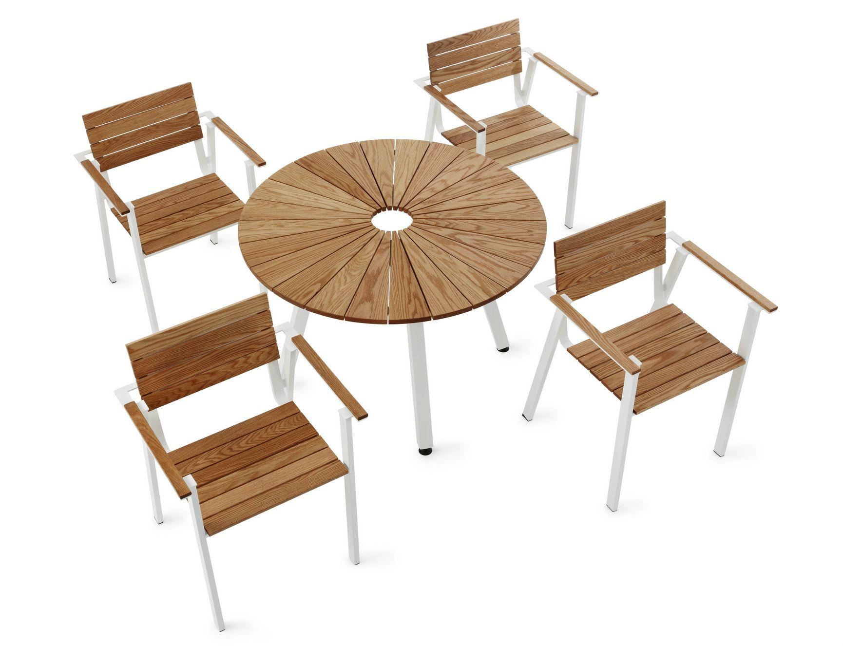 Table de jardin ronde en acier et bois collection sunset - Table jardin ronde bois ...