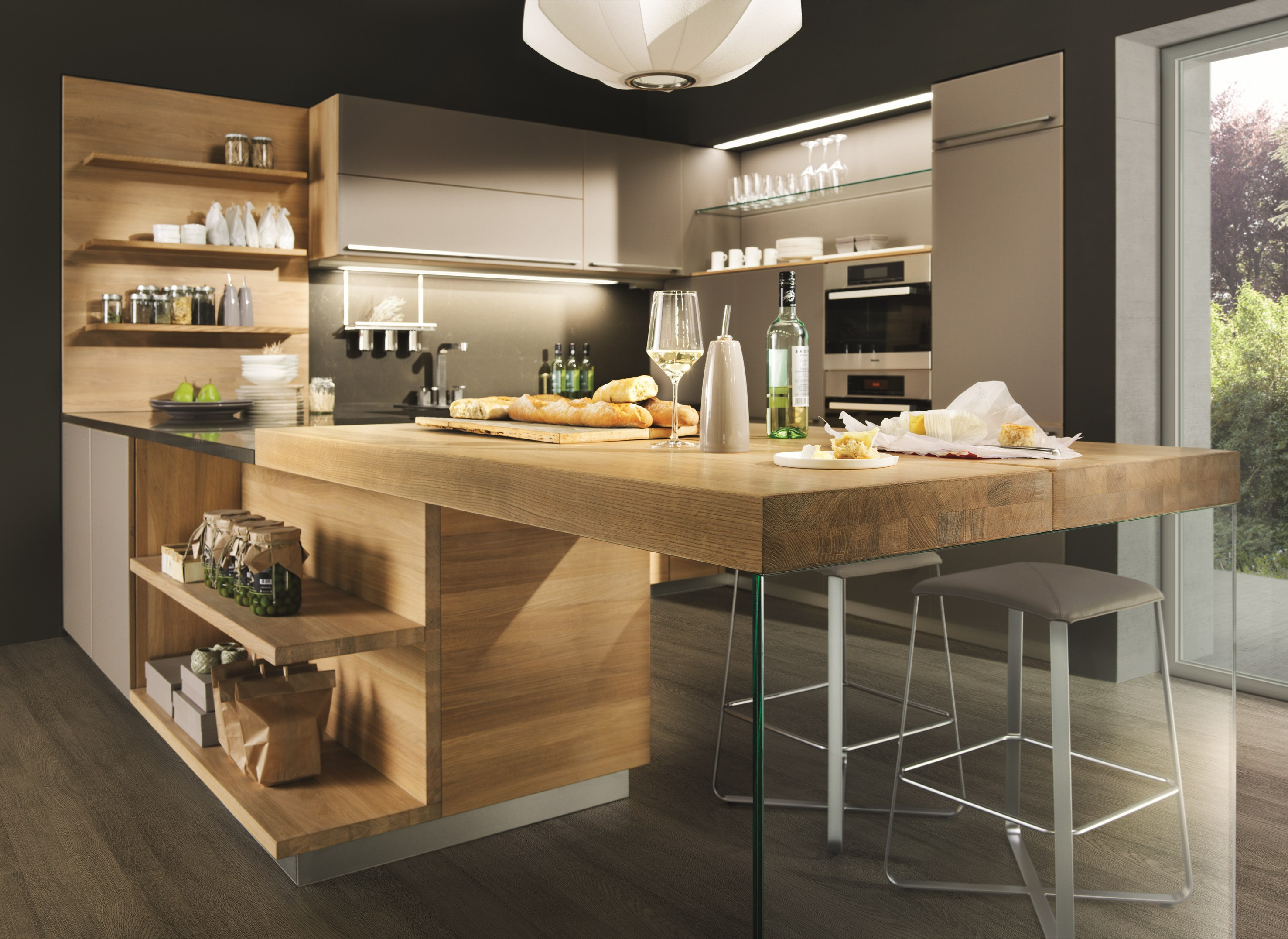 Solid wood fitted kitchen linee by team 7 nat rlich wohnen for Wooden fitted kitchen