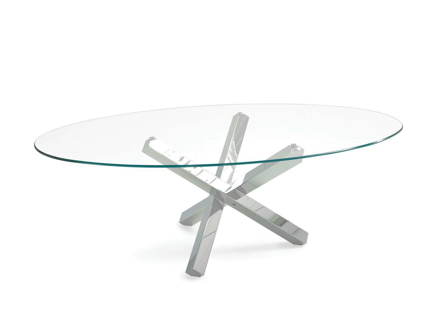 Tavolo ovale in vetro aikido elliptical by sovet italia - Tavolo in vetro ovale ...