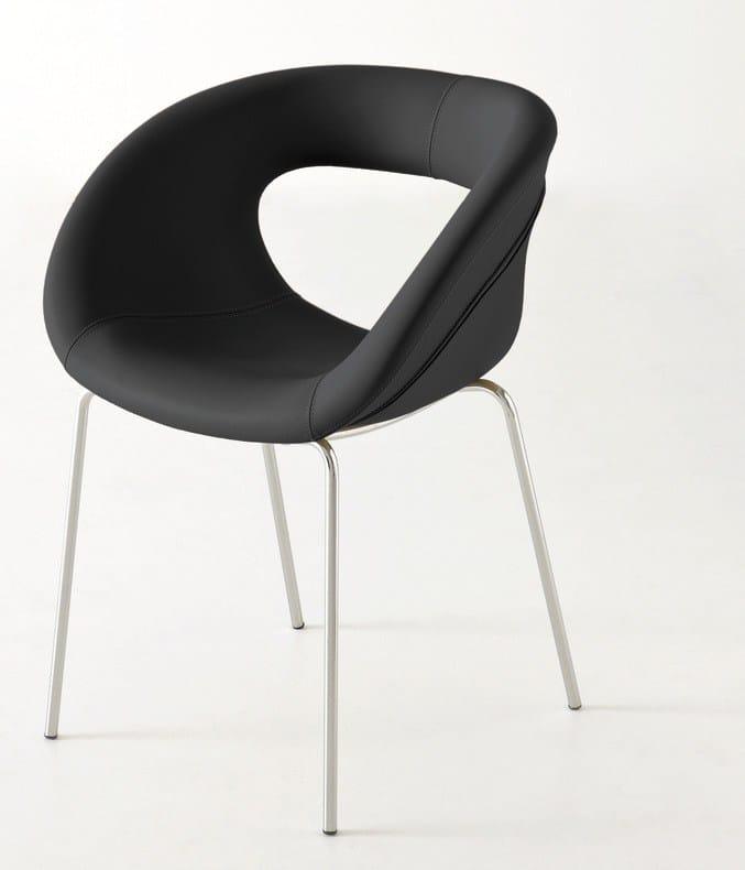 chaise rembourr e en cuir moema 75 by gaber design stefano sandon. Black Bedroom Furniture Sets. Home Design Ideas