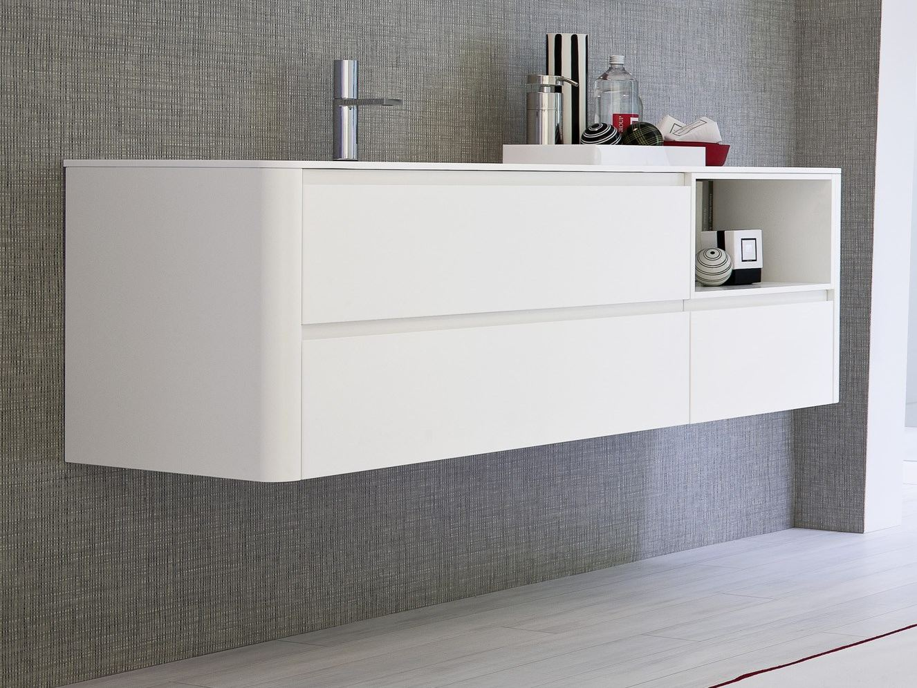 Mobile lavabo laccato sospeso comp msp01 collezione my for Mobile lavabo