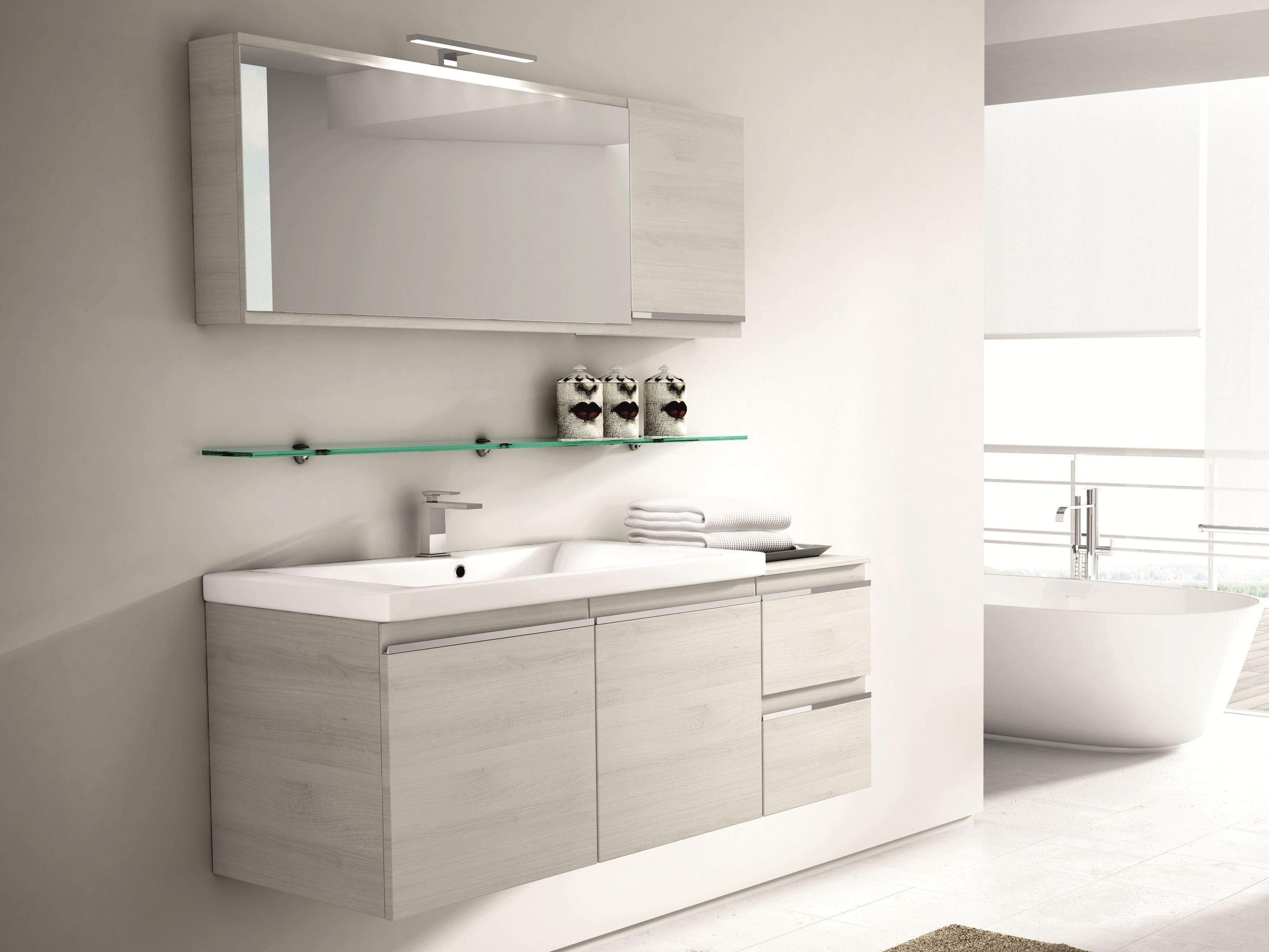 Móvel lavatório suspenso com gavetas com espelho MISTRAL COMP 08 by  #44876A 3239x2431 Banheiro Autocad 3d