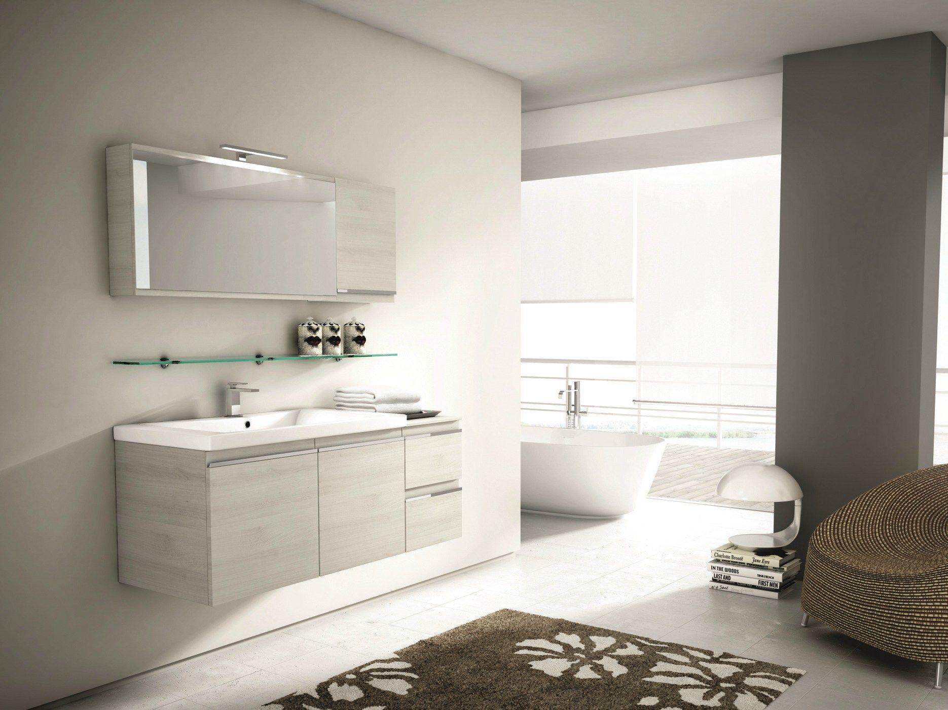 Mobile lavabo sospeso con cassetti con specchio mistral comp 08 by ideagroup - Lavabo sospeso con mobile ...