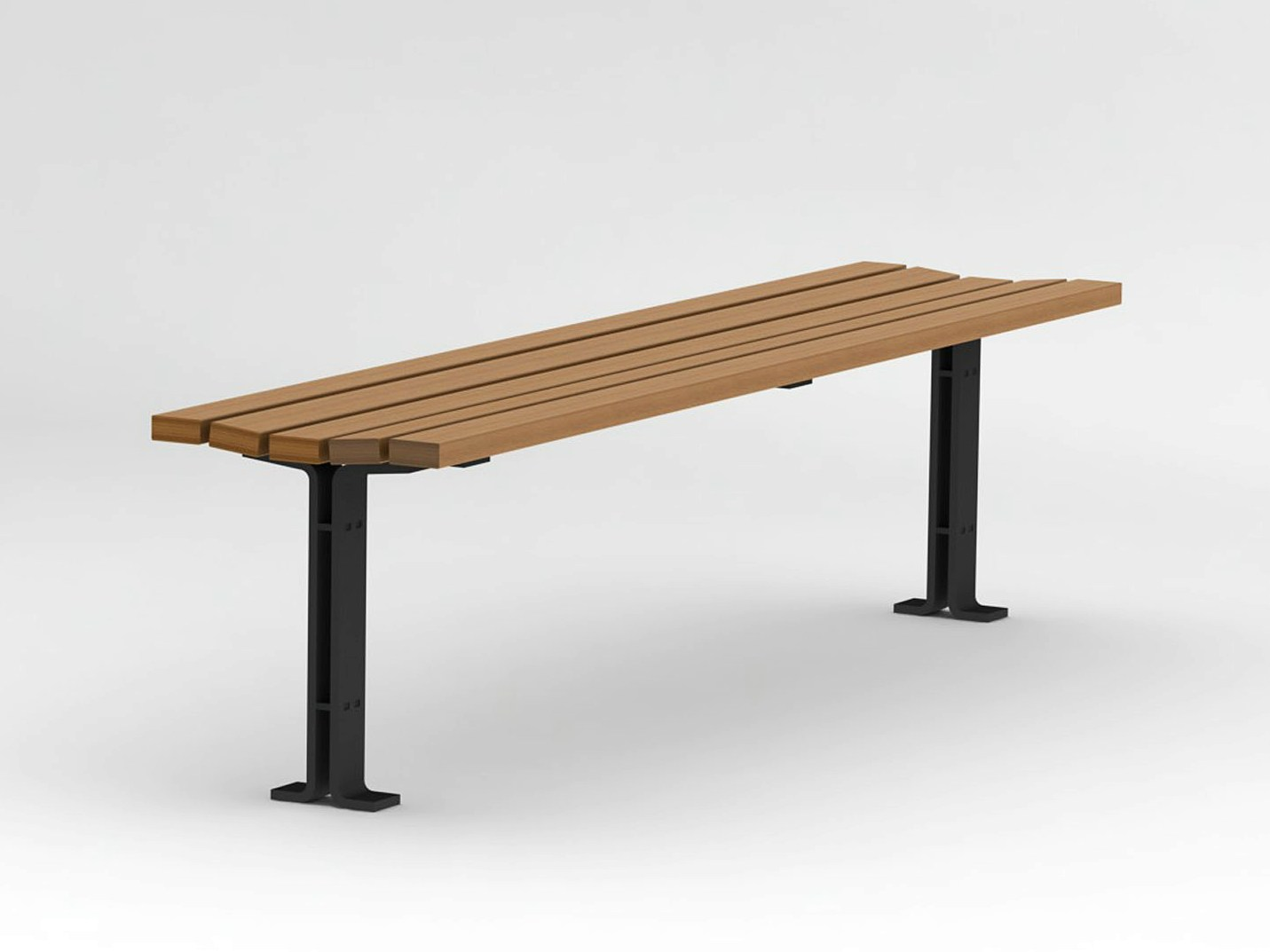 Backless Steel And Wood Bench Kajen Collection By Nola Industrier Design Thomas Bernstrand
