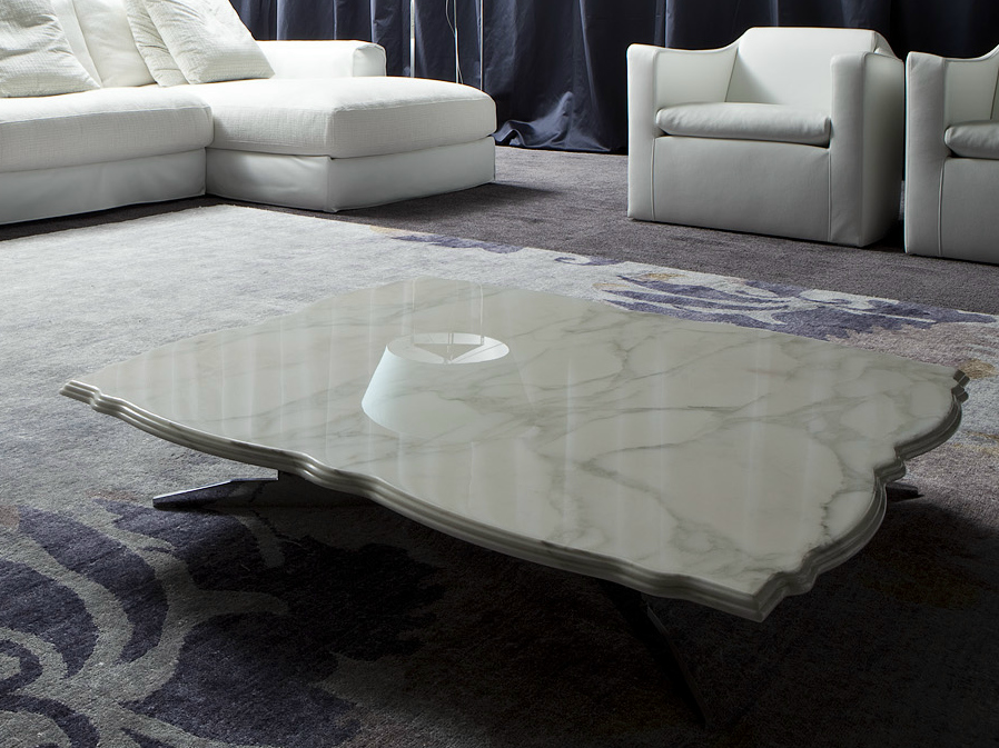 Table basse rectangulaire en marbre de salon rock coco by for Table de salon en marbre