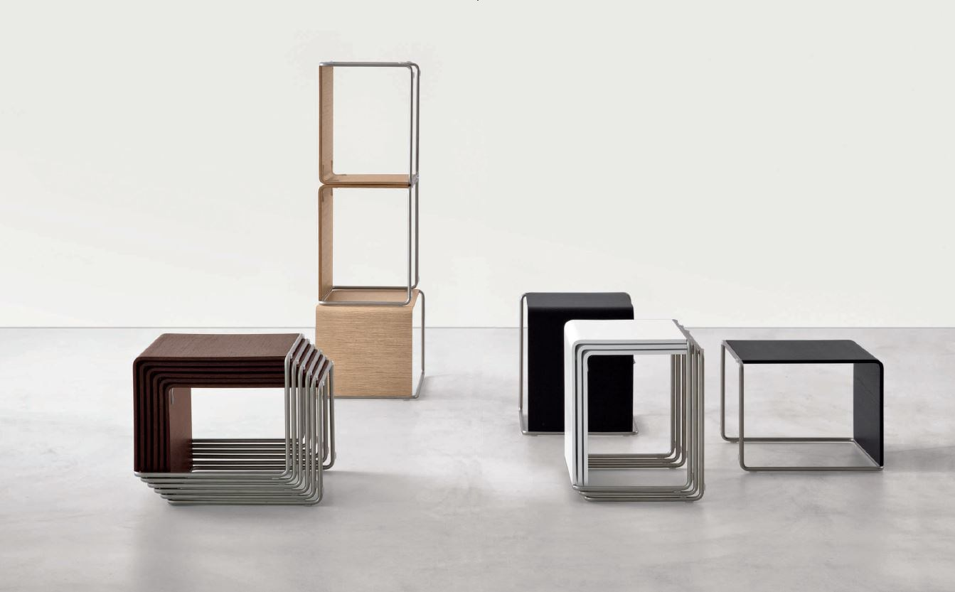 Low stackable stainless steel and wood coffee table ueno for Small stackable coffee tables