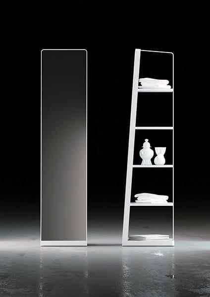 Miroir pour salle de bain sur pied rectangulaire miroir - Miroir salle de bain avec etagere ...