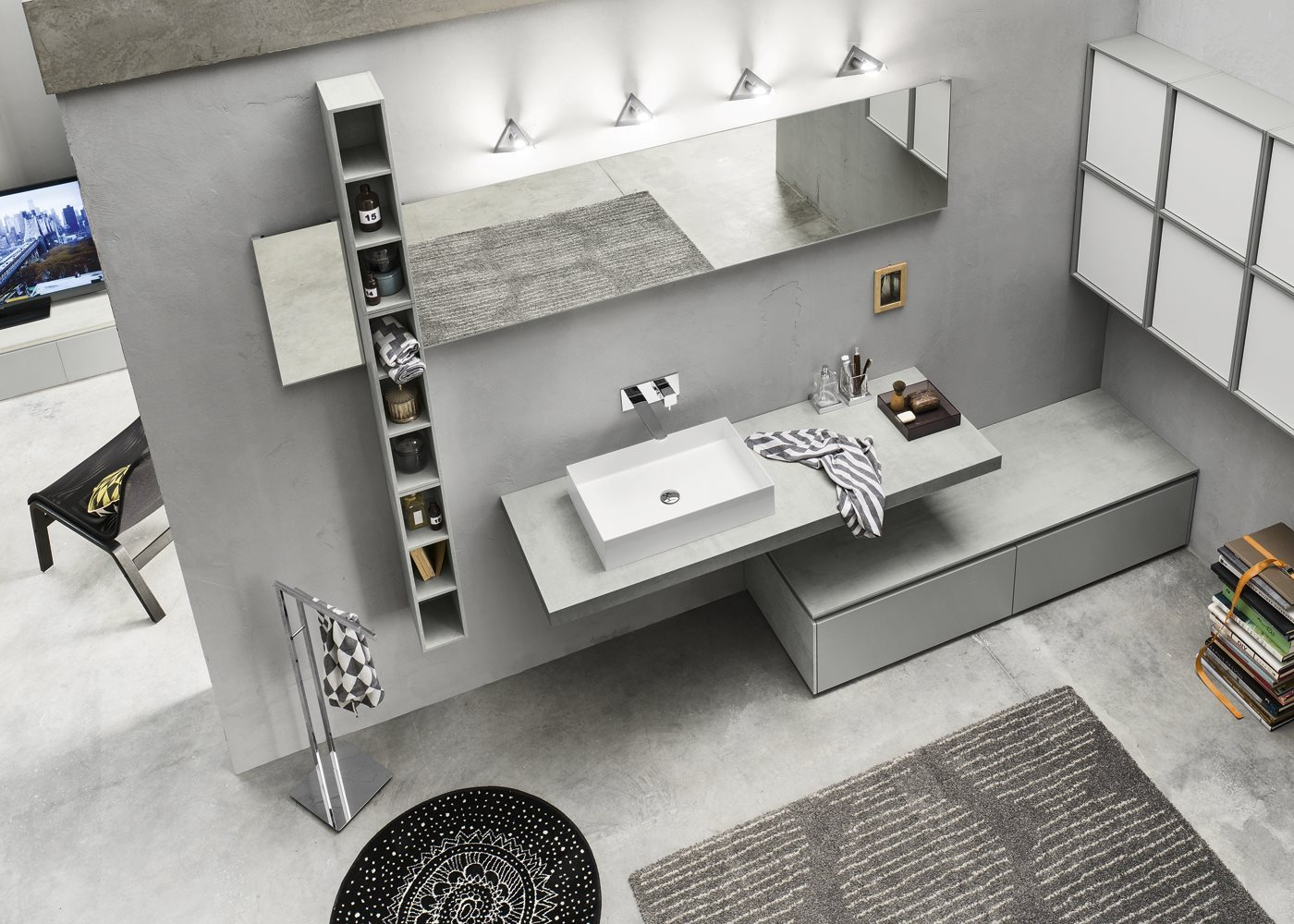 Meuble pour salle de bain meuble sous vasque progetto - Imitazioni mobili design ...