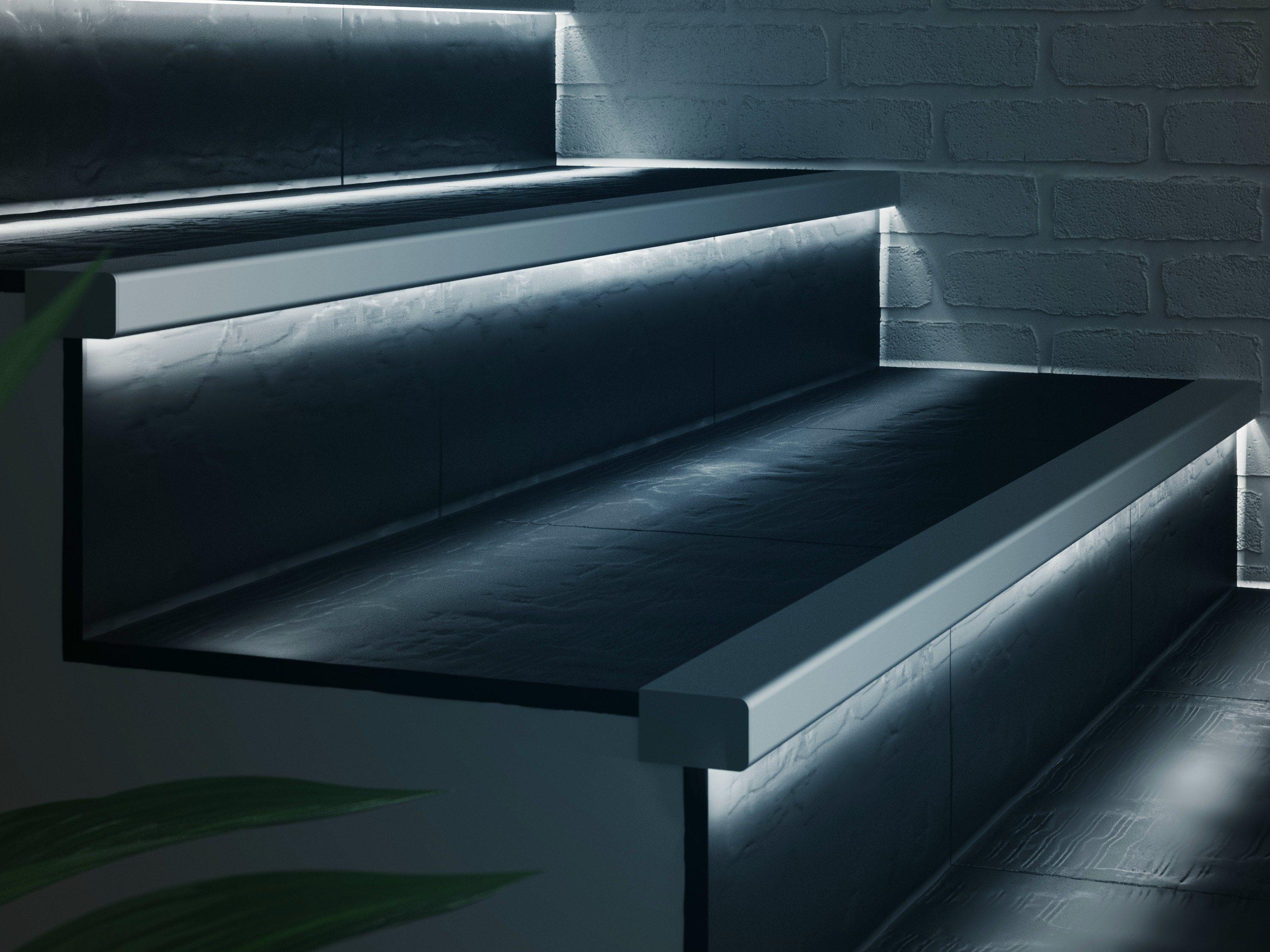 Treppenschutzprofil aus aluminium mit led licht prolight - Leds para escaleras ...