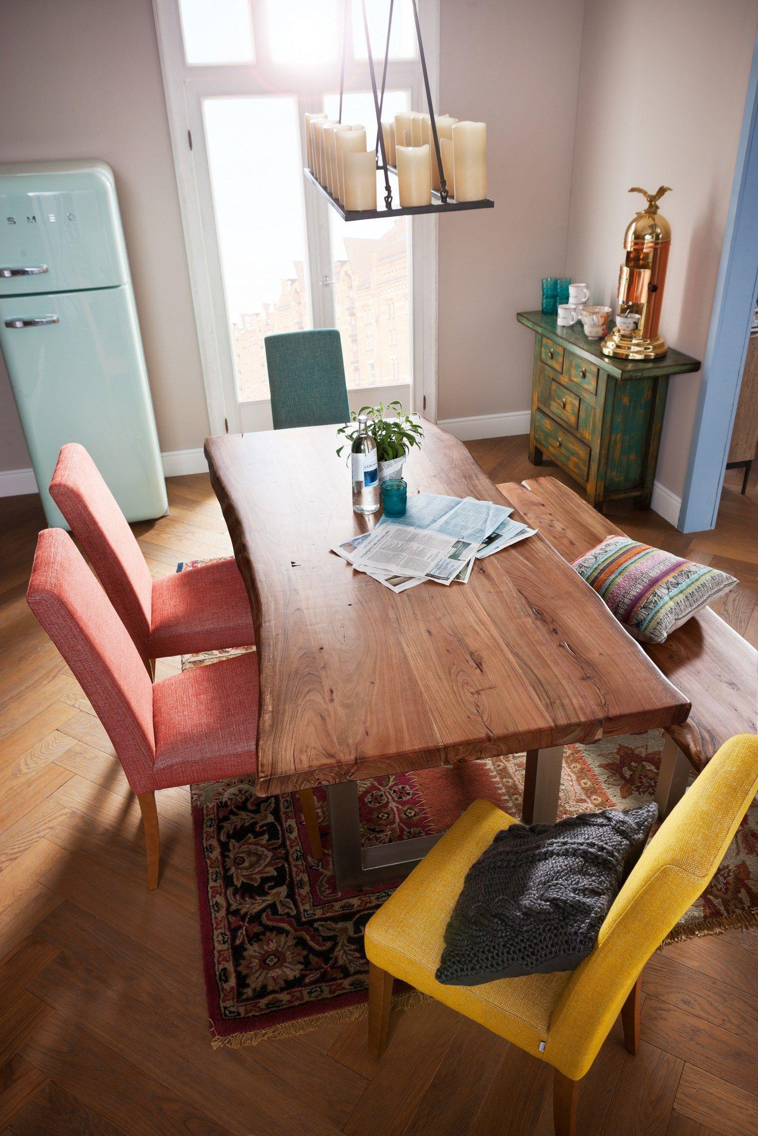Rechteckiger tisch aus stahl und holz pure nature by kare design