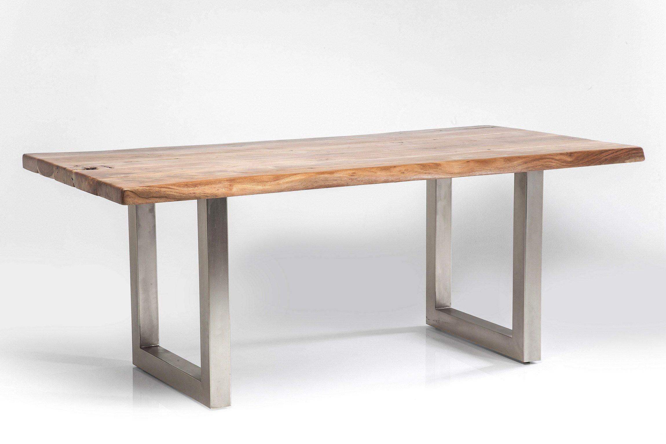Tavolo rettangolare in acciaio e legno pure nature by kare for Tavolo rettangolare design