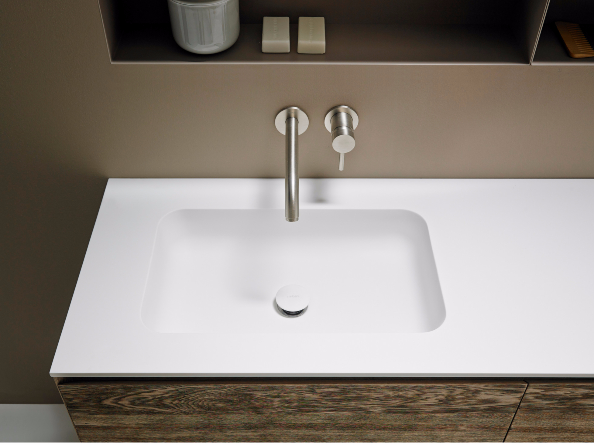 corian washbasin countertop quadro 55 by inbani. Black Bedroom Furniture Sets. Home Design Ideas
