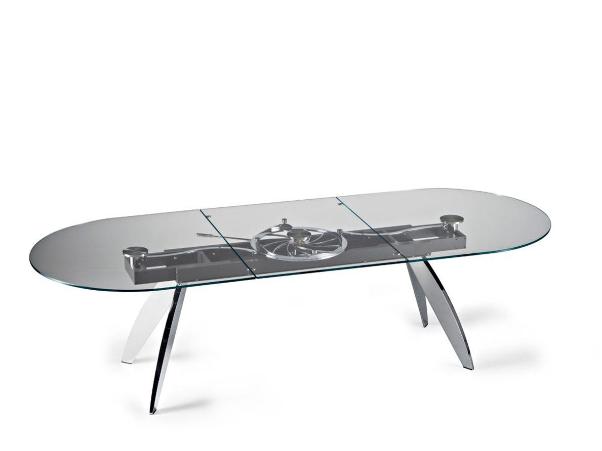 Quasar tavolo ovale by naos design studio d 39 urbino lomazzi for Tavolo ovale cristallo allungabile